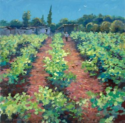 Vineyard, Portugal by James Preston - Original Painting on Stretched Canvas sized 16x16 inches. Available from Whitewall Galleries